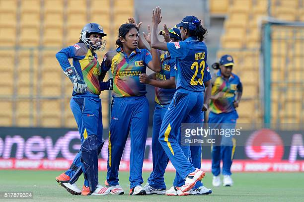 Chamari Atapattu of Sri Lanka celebrates the wicket of Mignon Du Preez Captain of South Africa during the Women's ICC World Twenty20 India 2016 match...