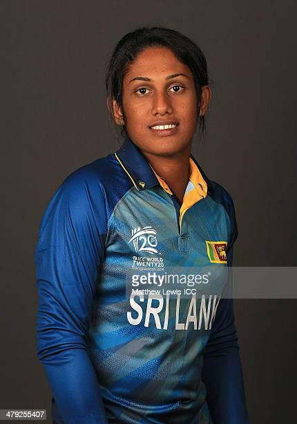Chamari Atapattu of Sri Lanka poses for a portrait during a Headshot session at the Ruposhi Bangla Hotel on March 17 2014 in Dhaka Bangladesh