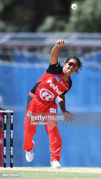 Chamari Atapattu of the Melbourne Renegades bowls during the Women's Big Bash League match between the Melbourne Renegades and the Adelaide Strikers...