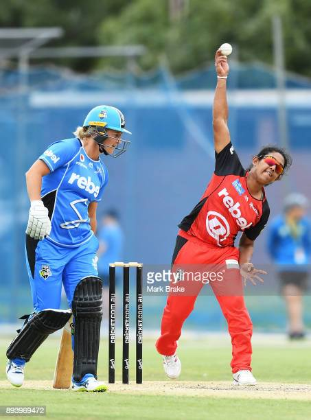 Chamari Atapattu of the Melbourne Renegades bowls during the Women's Big Bash League match between the Adelaide Strikers and the Melbourne Renegades...