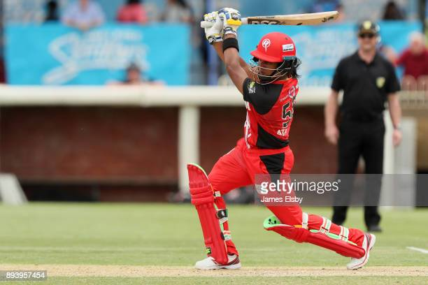 Chamari Atapattu of the Melbourne Renegades plays a shot during the Women's Big Bash League match between the Adelaide Strikers and the Melbourne...