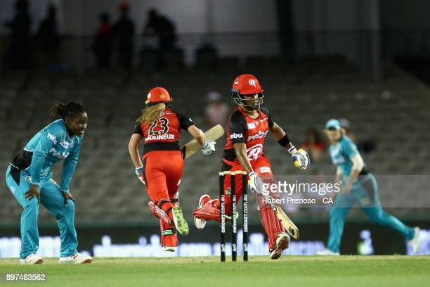 Chamari Atapattu of the Melbourne Renegades takes a single during the Women's Big Bash League match between the Brisbane Heat and the Melbourne...