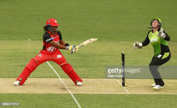 Chamari Atapattu of the Renegades bats during the Women's Big Bash League match between the Sydney Thunder and the Melbourne Renegades at Manuka Oval...