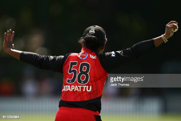 Chamari Atapattu of the Renegades celebrates catching a ball during the Women's Big Bash League match between the Perth Scorchers and the Melbourne...