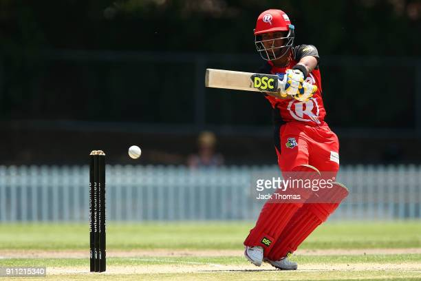 Chamari Atapattu of the Renegades plays a shot during the Women's Big Bash League match between the Perth Scorchers and the Melbourne Renegades at...