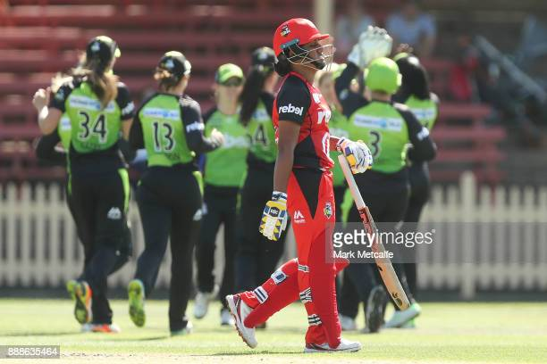 Chamari Atapattu of the Renegades walks from the field after being dismissed during the Women's Big Bash League WBBL match between the Melbourne...
