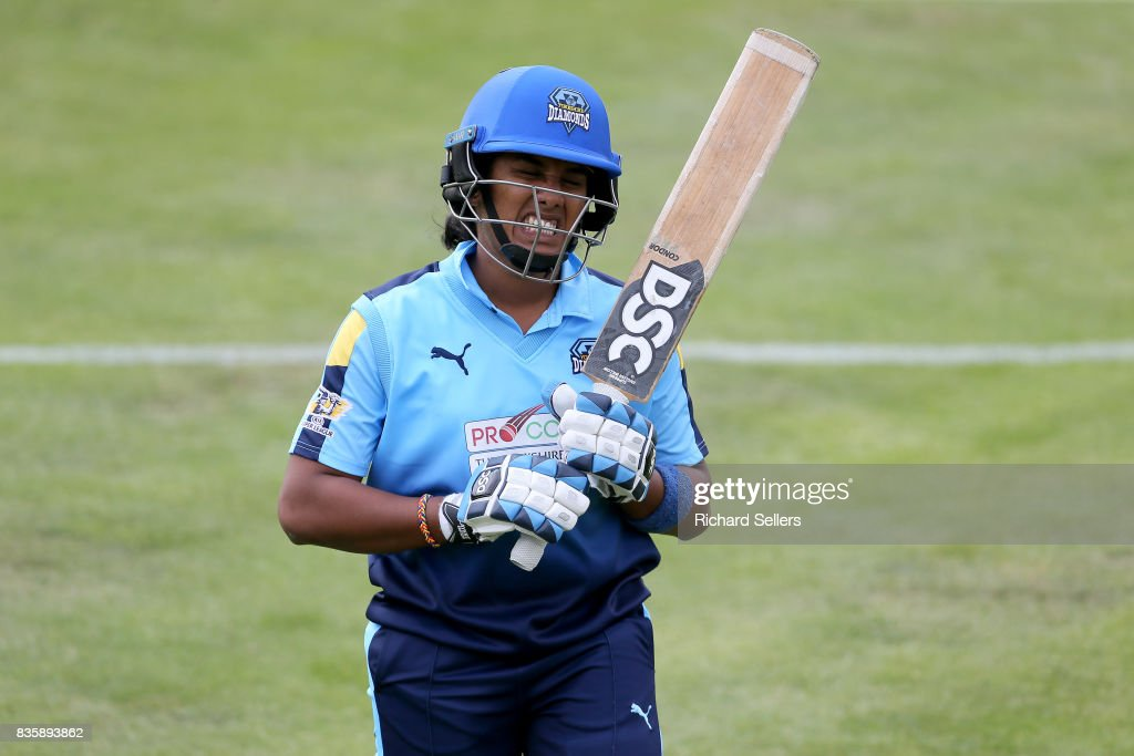 chamari Atapattu of Yorkshire Diamonds grimaces after she is out for 7 during the Kia Super League between Yorkshire Diamonds v Western Storm at York on August 20, 2017 in York, England.