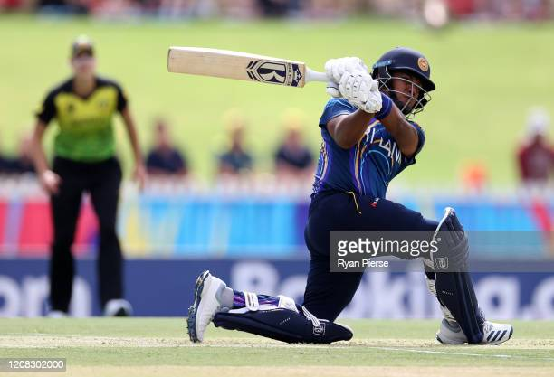 Chamari Athapaththu of Sri Lanka bats during the ICC Women's T20 Cricket World Cup match between Australia and Sri Lanka at the WACA on February 24,...