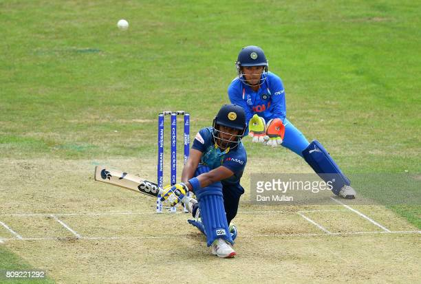 Chamari Athapaththu of Sri Lanka bats during the ICC Women's World Cup 2017 match between Sri Lanka and India at The 3aaa County Ground on July 5...