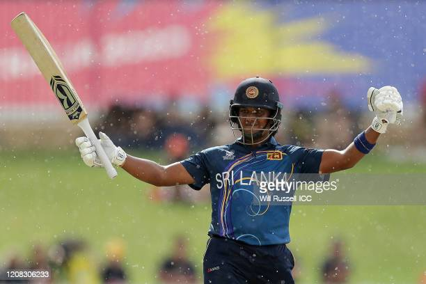 Chamari Athapaththu of Sri Lanka celebrates after reaching her half century during the ICC Women's T20 Cricket World Cup match between Australia and...