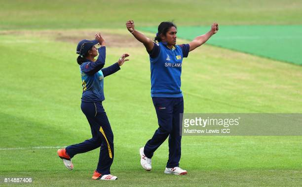 Chamari Athapaththu of Sri Lanka celebrates the wicket of Iram Javed of Pakistan after she was caught by Ama Kanchana during the ICC Women's World...