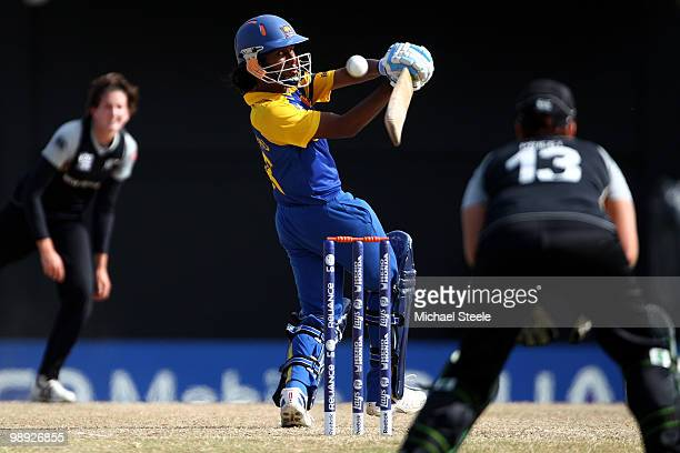 Chamari Athapaththu of Sri Lanka fails to connect with a delivery from Nicola Browne during the ICC T20 Women's World Cup Group B match between New...