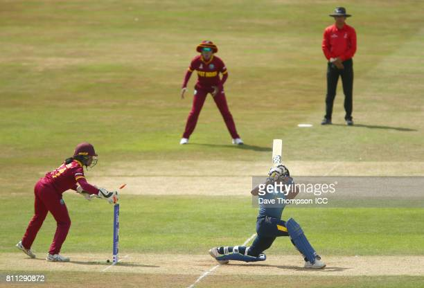 Chamari Athapaththu of Sri Lanka is stumped by Merissa Aguilleira of West Indies during the ICC Women's World Cup match between West Indies and Sri...