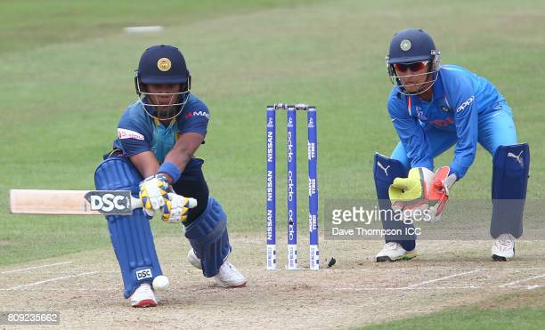 Chamari Athapaththu of Sri Lanka plays reverse sweep shot during the ICC Women's World Cup match between Sri Lanka and India at The 3aaa County...