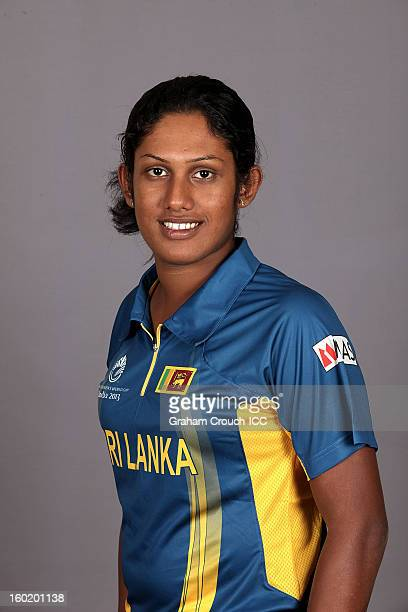 Chamari Athapaththu of Sri Lanka poses at a portrait session ahead of the ICC Womens World Cup 2013 at the Taj Mahal Palace Hotel on January 27 2013...