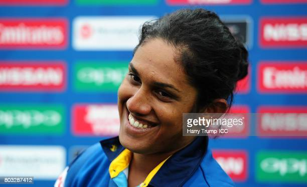 Chamari Athapaththu of Sri Lanka smiles after scoring 178 during the ICC Women's World Cup 2017 match between Sri Lanka and Australia on June 29 2017...