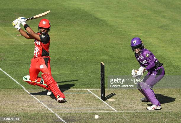 Chamari Athapaththu of the Renegades bats during the Women's Big Bash League match between the Hobart Hurricanes and the Melbourne Renegades at...