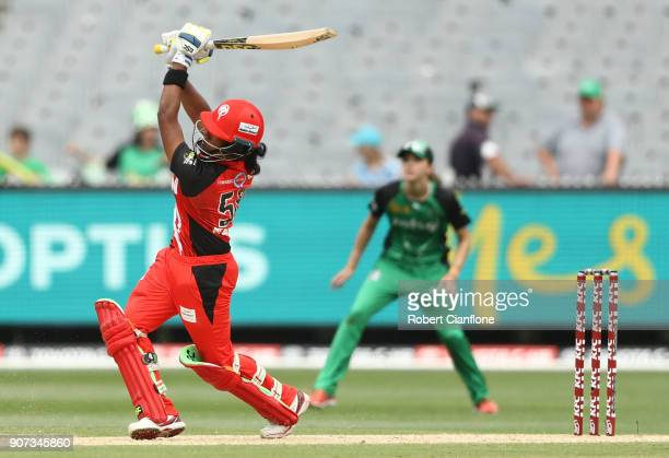 Chamari Athapaththu of the Renegades bats during the Women's Big Bash League match between the Melbourne Stars and the Melbourne Renegades at...