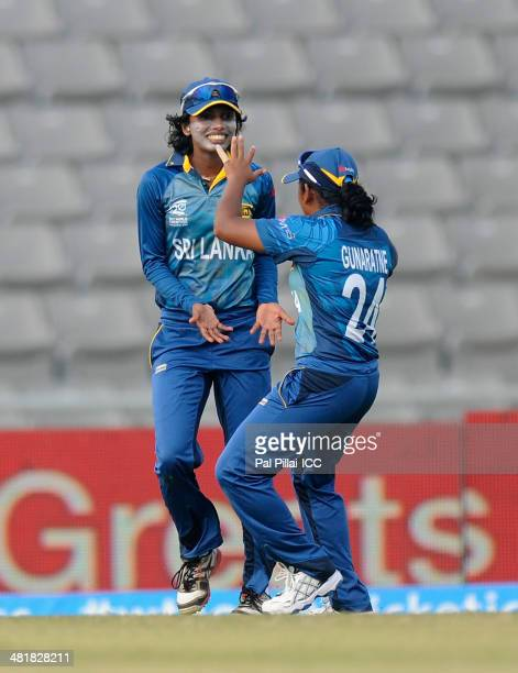 Chamari Polgampola of Sri Lanka celebrates after finishing a catch to get the wicket of Salma Khatun of Bangladesh during the ICC Women's World...