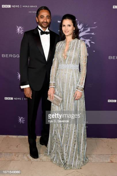 Chamath Palihapitiya and Nathalie Dompe attend the Third Annual Berggruen Prize Gala at the New York Public Library on December 10 2018 in New York...