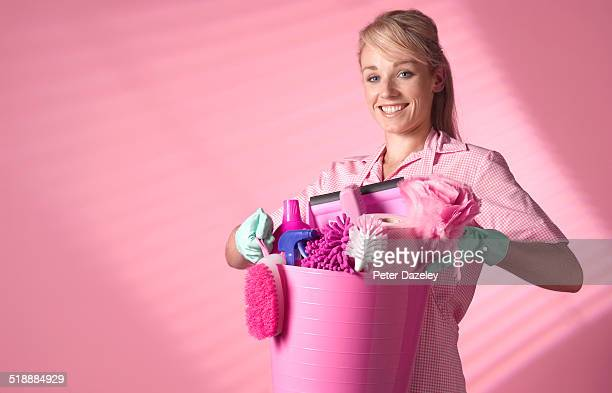 chamber maid spring cleaning - daily bucket stock pictures, royalty-free photos & images