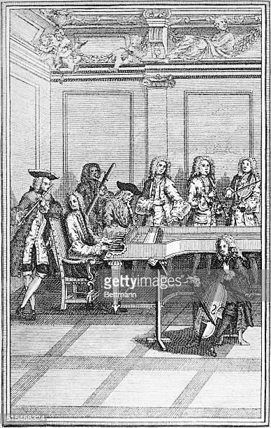 Chamber music ensemble at the time of Johann Sebastian Bach Typical Chamber orchestra accompanying the piano concertos by the composer