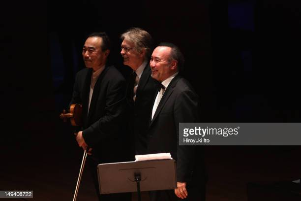 Chamber Music Society performing at Alice Tully Hall on Tuesday night April 24 2012Image shows From left ChoLiang Lin John Harbison and Jon Kimura...
