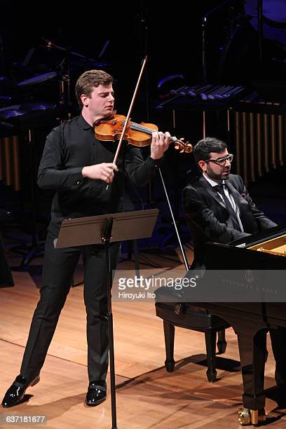 """Chamber Music Society presents """"American Visions"""" at Alice Tully Hall on Tuesday night, April 19, 2016.This image:Chad Hoopes, left, and Michael..."""