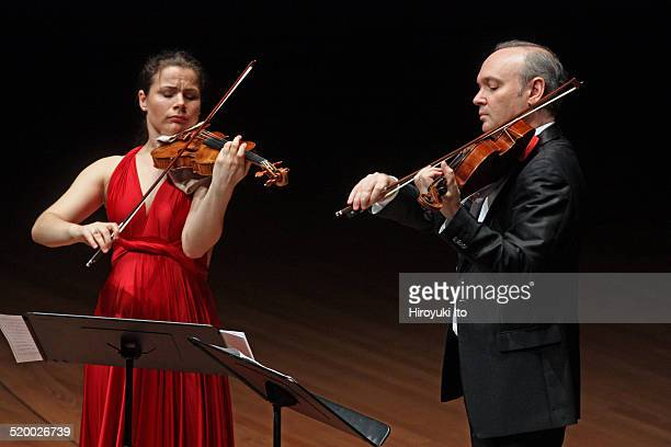 Chamber Music Society's season opening concert at Alice Tully Hall on Wednesday night, October 15, 2014.This image:Bella Hristova, left, and Paul...
