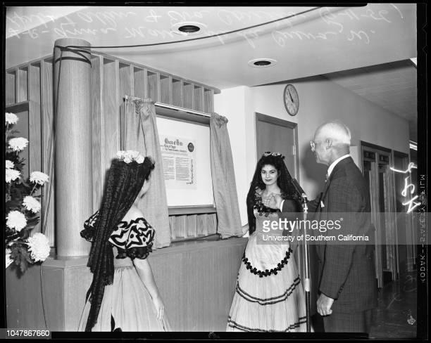 Chamber of Commerce 11 September 1956 Doctor Arnold Beckman Anna Marie de la CuevaW Herbert Allen Eva CarilloArthur Stewart Color Guard of Legion...