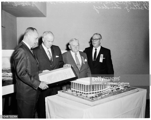 Chamber of Commerce Gridiron Banquet at Palladium, 15 March 1961. Robert Coons ;Welton Becket ;Frank Gillelan;Walter J Lindsay.;Caption slip reads:...