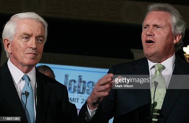 US Chamber of Commerce President and CEO Thomas J Donohue and CEO of General Electric Jeffrey Immelt speak to the media during the second annual jobs...