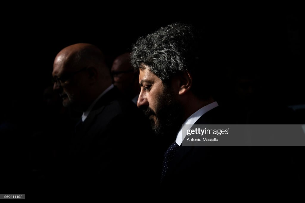 Chamber of Deputies President Roberto Fico leaves the Quirinal palace after a meeting to receive an exploratory mandate from Italian President Sergio Mattarella to verify the possibility to find a formation of the new government on April 23, 2018 in Rome, Italy.