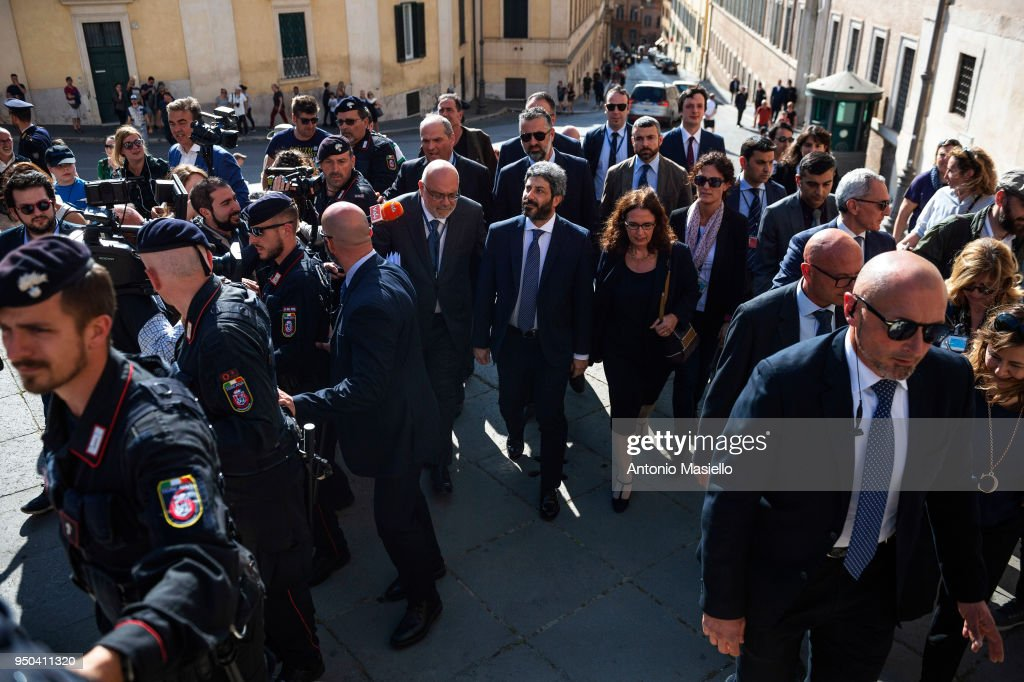 Chamber of Deputies President Roberto Fico walks to the Quirinal palace to receive an exploratory mandate from Italian President Sergio Mattarella to verify the possibility to find a formation of the new government on April 23, 2018 in Rome, Italy.