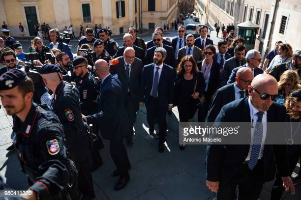 Chamber of Deputies President Roberto Fico walks to the Quirinal palace to receive an exploratory mandate from Italian President Sergio Mattarella to...