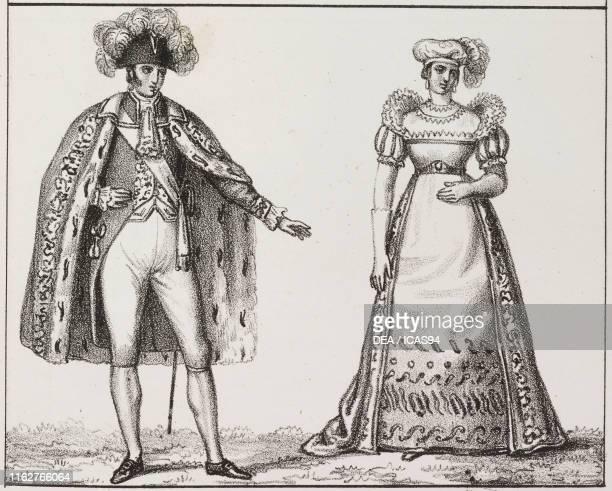 Chamberlain and court lady France lithograph from Galleria universale di tutti i popoli del mondo ossia storia dei costumi religioni riti governi...