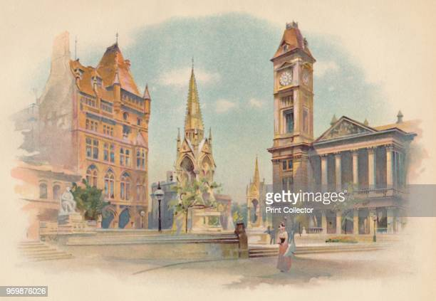 Chamberlain Square Birmingham Showing the High School for Girls The Chamberlain Memorial and the Art Gallery' circa 1890 After a photograph of...