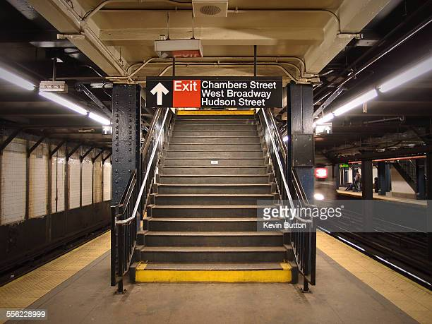 chambers street subway - new york city subway stock pictures, royalty-free photos & images