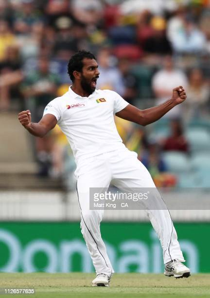Chamika Karunaratne of Sri Lanka celebrates taking the wicket of Marnus Labuschagne of Australia during day one of the Second Test match between...