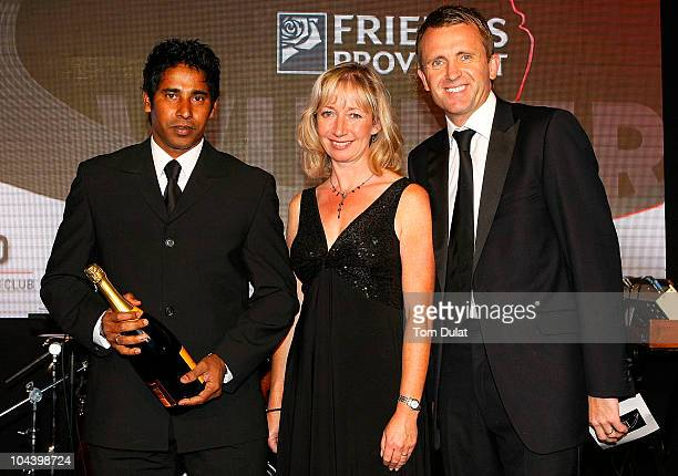 Chaminda Vaas is presented with the Friends Provident t20 Player of the Year Award during the NatWest PCA Awards Dinner 2010 at The Hurlingham Club...