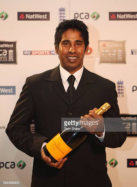 Chaminda Vaas of Northamptonshire poses with the FPT20 Player of the Year award during PCA Awards dinner at the Hurlingham Club on September 23 2010...