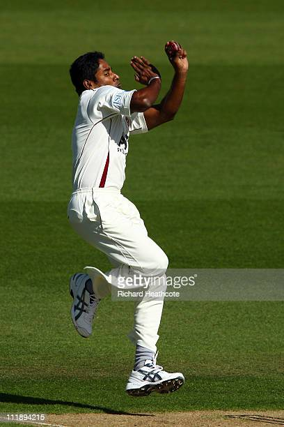 Chaminda Vaas of Northants bowls during the first day of the LV= County Championship Division 2 match between Surrey and Northants at The Kia Oval on...