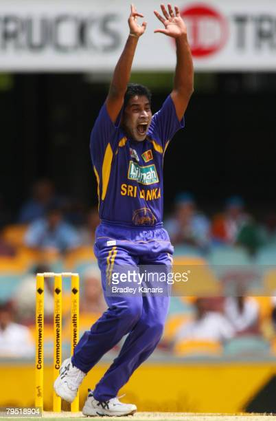 Chaminda Vaas of Sri Lanka appeals during the Commonwealth Bank Series match between Sri Lanka and India held at the Gabba on February 5 2008 in...