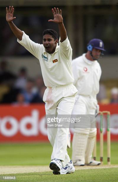 Chaminda Vaas of Sri Lanka appeals for the wicket of Graham Thorpe of England during the 2nd Npower Test Match between England and Sri Lanka at...