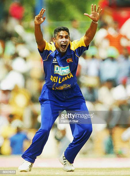 Chaminda Vaas of Sri Lanka appeals unsuccessfully against Ricky Ponting of Australia during the One Day International between Sri Lanka and Australia...