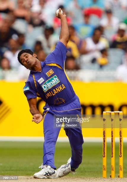 Chaminda Vaas of Sri Lanka bowls during the Commonwealth Series One Day International match between Australia and Sri Lanka at the Melbourne Cricket...