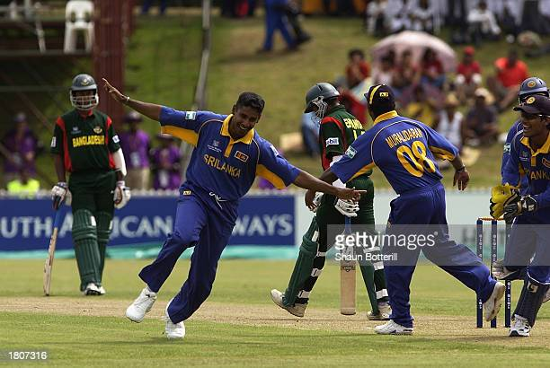 Chaminda Vaas of Sri Lanka celebrates his hattrick during the ICC Cricket World Cup 2003 Pool B match between Sri Lanka and Bangladesh held on...