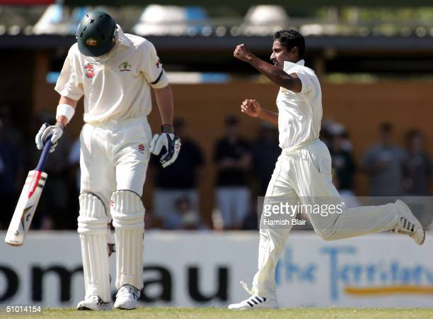 Chaminda Vaas of Sri Lanka celebrates the wicket of Matthew Elliott of Australia during day one of the First Test between Australia and Sri Lanka...