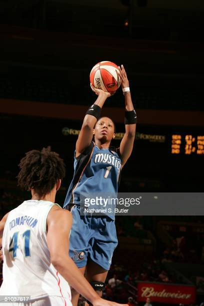 Chamique Holdsclaw of the Washington Mystics attempts a jumpshot against Bethany Donaphin of the New York Liberty on July 8 2004 at Madison Square...
