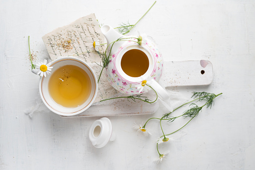 Chamomile tea in pot and cup - gettyimageskorea